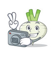 photographer turnip mascot cartoon style vector image vector image