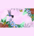 pink gentle banner with hummingbirds orchid vector image vector image