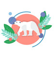 polar animal white bear in minimalist style vector image vector image