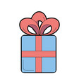 present gift with ribbon bow design vector image vector image