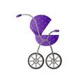 purple retro design baby stroller with big wheels vector image