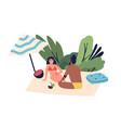 relaxing people sunbathing couple on beach woman vector image