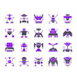 robot simple color flat icons set vector image