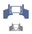 Selfie Logo Sign emblem for a photo on phone Hands vector image