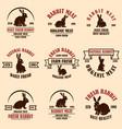 set rabbit meat labels design elements for vector image