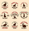 set rabbit meat labels design elements vector image