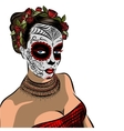 Skull girl with flowers Black and white vector image vector image