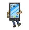 smart phone walk sketch engraving vector image vector image