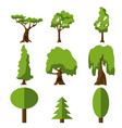 stylized green tree icon cartoon isolated set vector image vector image