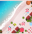 summer beach vacation top angle view sand colorful vector image vector image