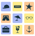 summer icons set with fresh juice umbrella vector image