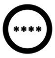 symbol enter password icon black color in circle vector image vector image