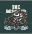 t-shirt label design vintage fire truck vector image vector image