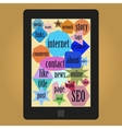 tablet with words or tags related to web vector image