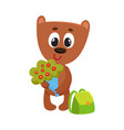 teddy bear student character with backpack holding vector image vector image