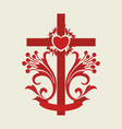 the cross of jesus christ and the heart vector image vector image