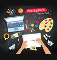 top view set of artist workplace vector image vector image