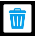 Trash Can flat blue and white colors rounded vector image