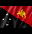 waving flag of papua new guinea vector image vector image