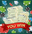 you win winner background gambling poker vector image vector image