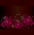 red flowers on dark background glowing border vector image