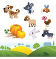 Isolated cartoon farm animals on white background vector image