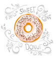 realistic isolated sweet donut on top view with vector image