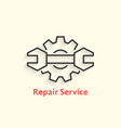black outline repair service logo vector image