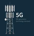 5g technology standard mast base stations on blue