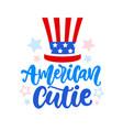 american cutie hand written ink lettering vector image vector image