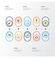 audio icons colored line set with notes headphone vector image vector image