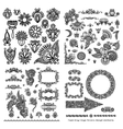 black line art ornate flower design collection vector image vector image