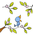 blossoming twig seated birds vector image vector image