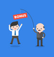 boss or ceo holding fishing rod with bonus for vector image vector image