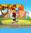 boy playing skatboard at school vector image vector image