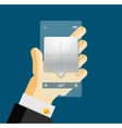 Businessman hands on mobile phone with web dialog vector image vector image