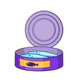 Canned sprats icon cartoon style vector image