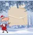 cartoon angry santa claus points with his finger vector image vector image