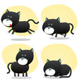 cartoon black cat set vector image vector image