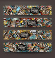 cartoon doodles cinema horizontal banners vector image vector image