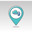 Cloud blows Wind pin map icon Weather vector image vector image