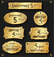 collection of anniversary retro gold labels 5 vector image vector image