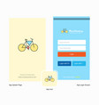 company cycle splash screen and login page design vector image vector image