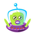 confused and surprised green aliens in a flying vector image vector image