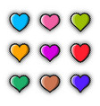 creative heart icon set halftone design vector image vector image