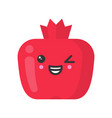 cute smiling pomegranate isolated colorful vector image