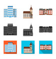 design of building and front symbol set of vector image