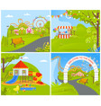 empty amusement park with attractions carousels vector image vector image