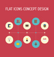 flat icons contact tea espresso machine and vector image vector image