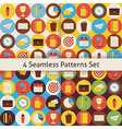 Four Flat Seamless Business and Office Patterns vector image